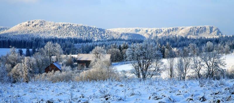 Inverno nel â Pasterka, Polonia, paese del villaggio fotografia stock