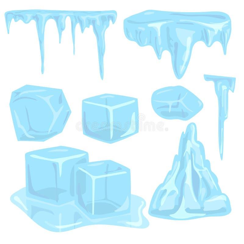 inverno nevado ártico da água fria dos elementos dos sincelos dos montes de neve dos calotes polares ilustração do vetor