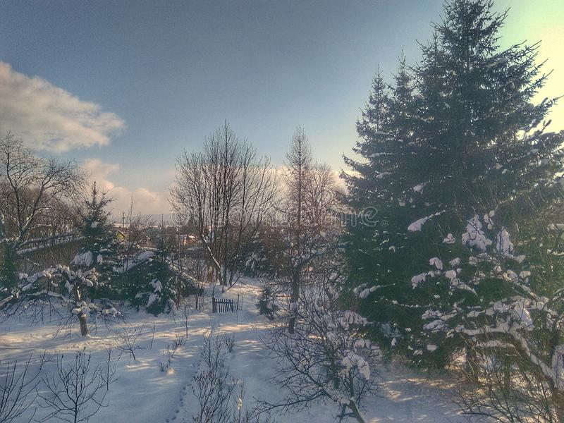 inverno nevado em uma vila fotografia de stock royalty free