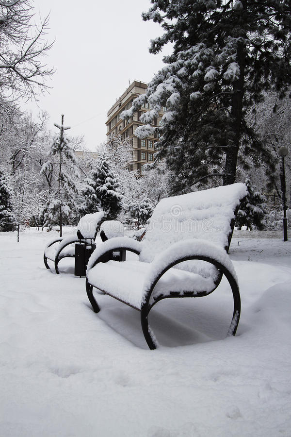 Inverno, neve sulla costruzione del banco immagini stock
