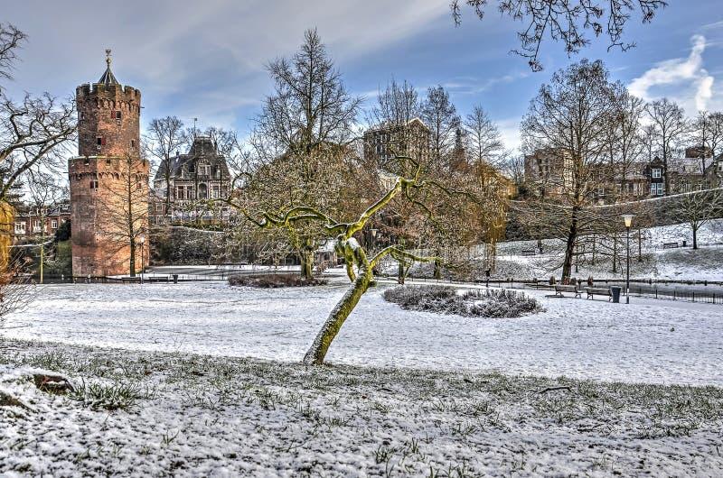 inverno no parque de Kronenburg imagens de stock