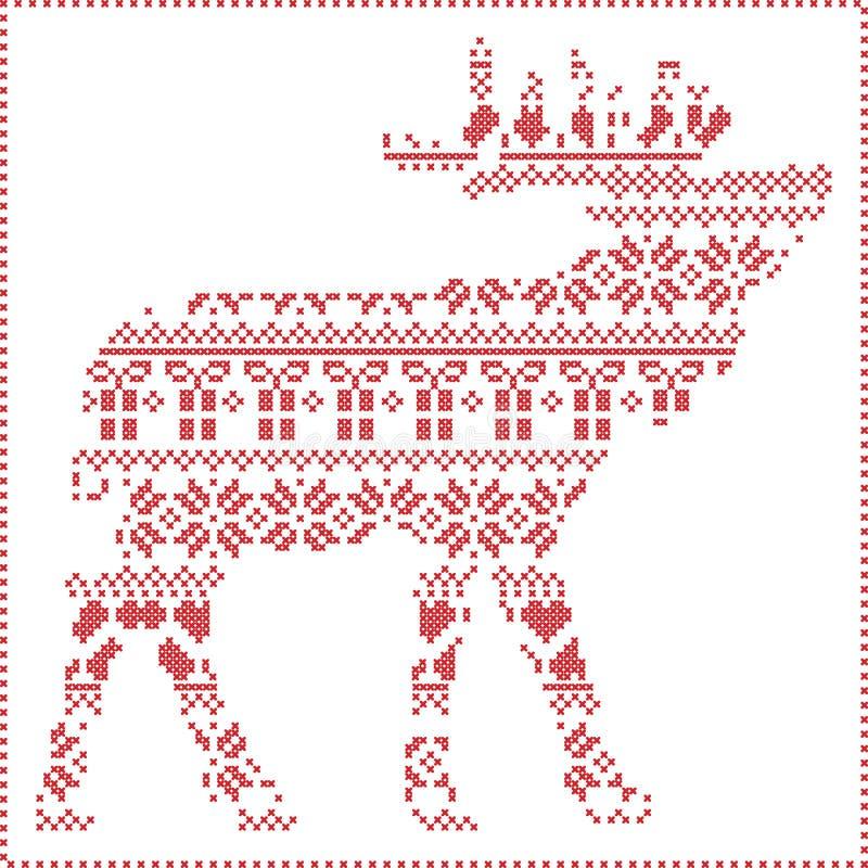 Inverno nordico scandinavo che cuce tricottando il modello di natale dentro nella forma del corpo della renna compreso i fiocchi  illustrazione di stock