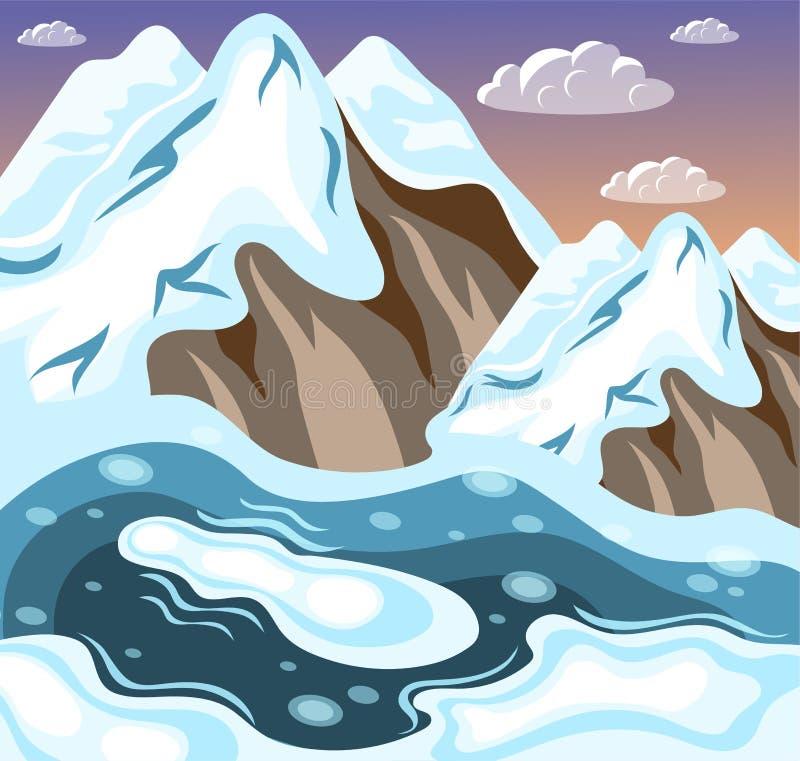 inverno que ajardina o fundo isométrico das montanhas ilustração do vetor