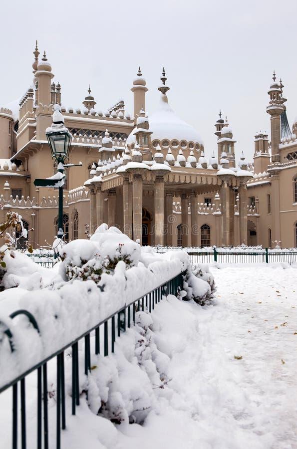 Inverno reale della neve di Brighton del padiglione immagini stock libere da diritti