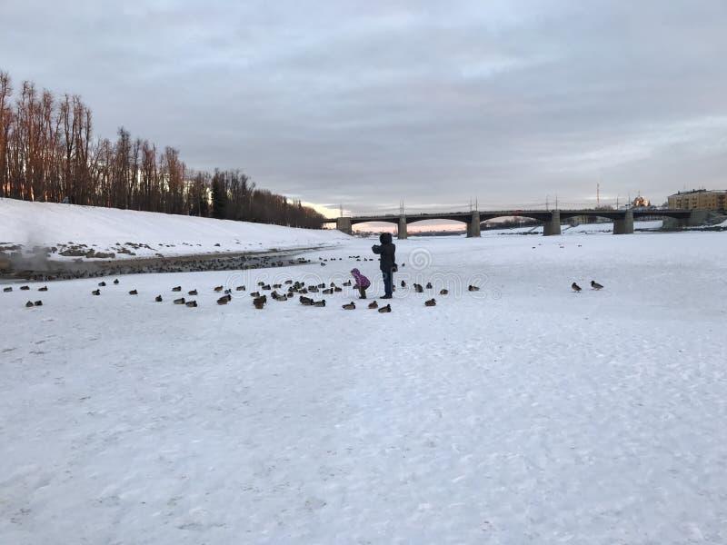 Inverno in Russia, fiume Volga in Tver' immagini stock libere da diritti