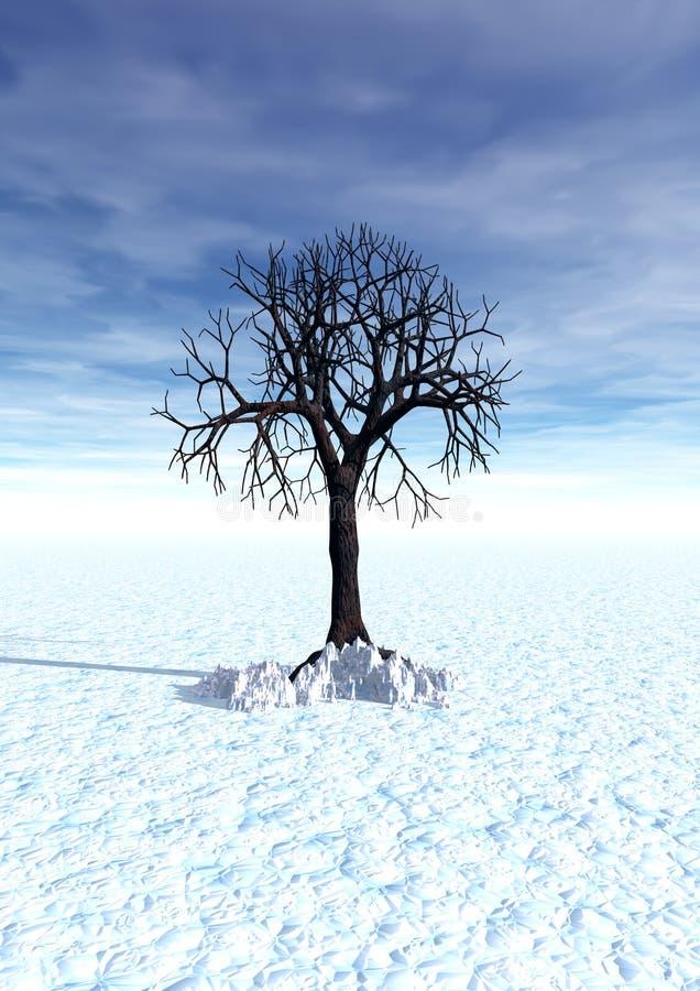 Inverno, scena 3d con l'albero solo royalty illustrazione gratis
