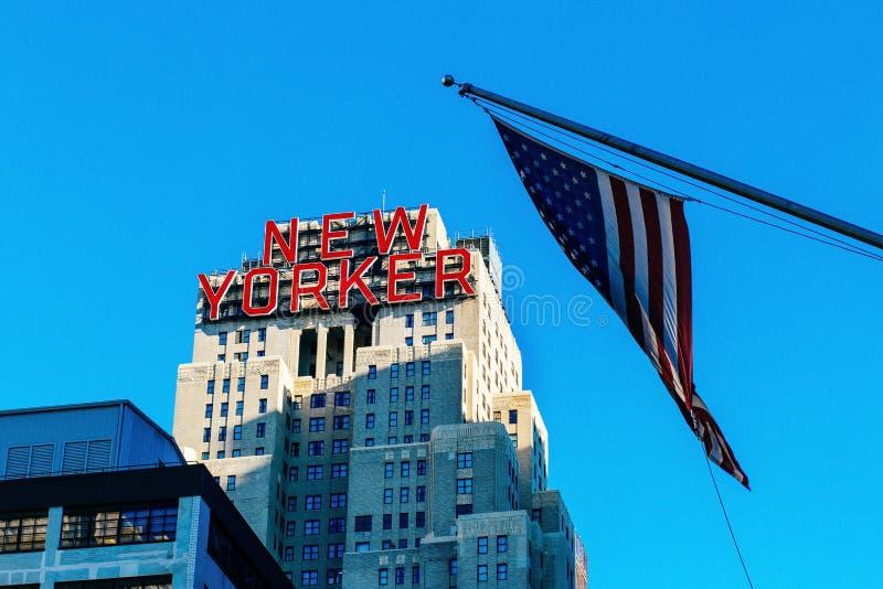 Inverno segno del Newyorkese del novembre 2013 all'hotel di Midtown di Manhattan fotografia stock libera da diritti