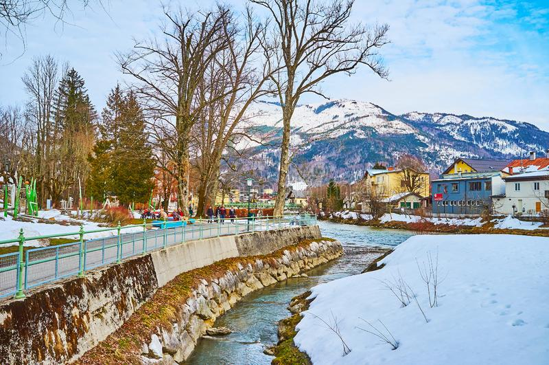 Inverno Sissi Park, cattivo Ischl, Austria fotografia stock