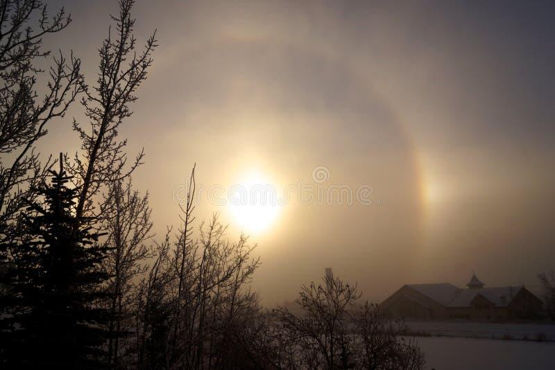 inverno Sundog em Calgary imagem de stock