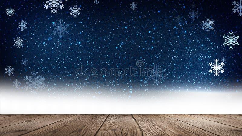 Inverno vuoto, fondo della neve, tavola di legno, scena vuota del paesaggio di inverno Fiocchi di neve astratti, neve illustrazione di stock