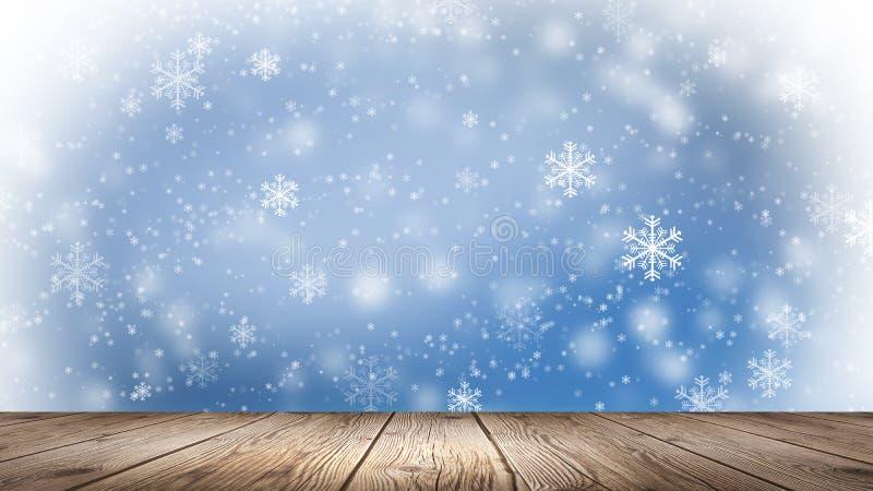 Inverno vuoto, fondo della neve, tavola di legno, scena vuota del paesaggio di inverno Fiocchi di neve astratti, neve illustrazione vettoriale