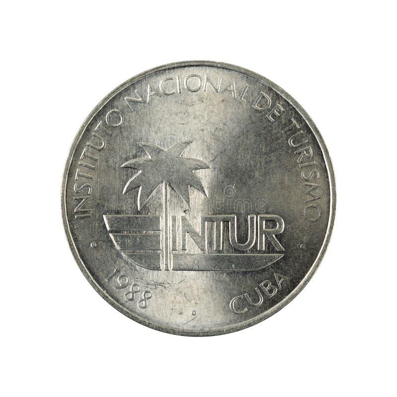 25 inverse cubain de la pièce de monnaie 1988 de centavo d'intur d'isolement sur le fond blanc photographie stock libre de droits