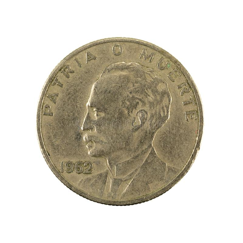 20 inverse cubain de la pièce de monnaie 1962 de centavo d'isolement sur le fond blanc photographie stock libre de droits