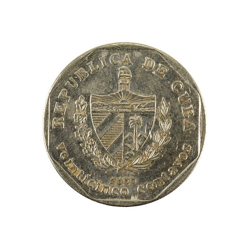 25 inverse cubain de la pièce de monnaie 2000 de centavo d'isolement sur le fond blanc images libres de droits