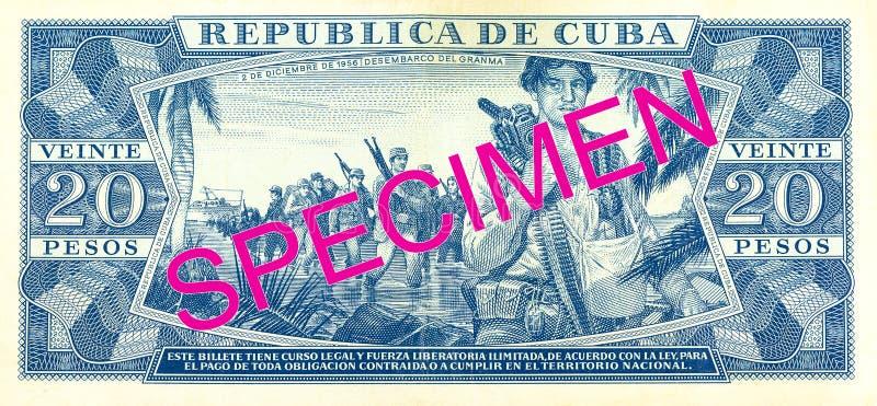 inverse de billet de banque du peso 20 cubain images stock