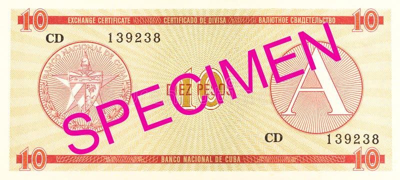 inverse de certificat d'échange du peso 10 cubain image libre de droits