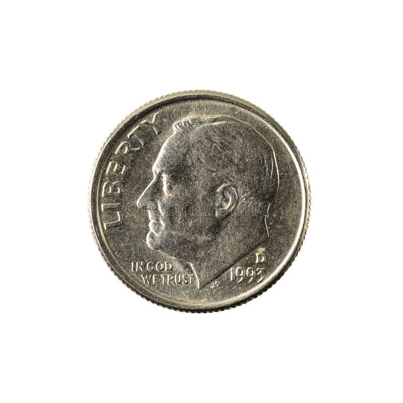 1 inverse de la pièce de monnaie 1993 de dixième de dollar des Etats-Unis photos stock