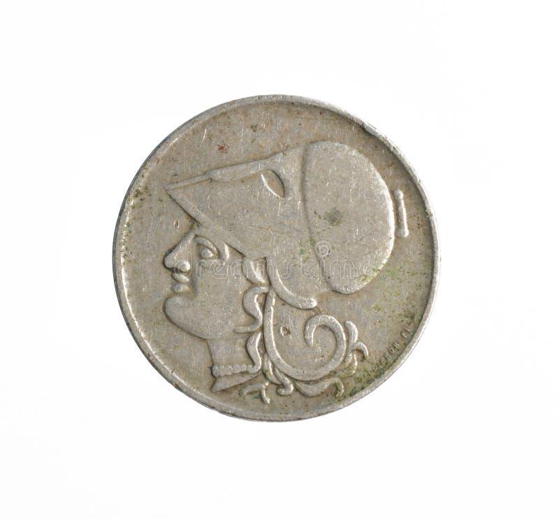 Inverse de la pièce de monnaie de 2 drachmes faite par la Grèce photographie stock libre de droits