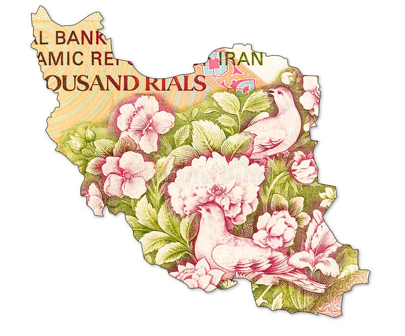 inverse de note du rial 5000 iranien dans la forme de l'Iran image libre de droits