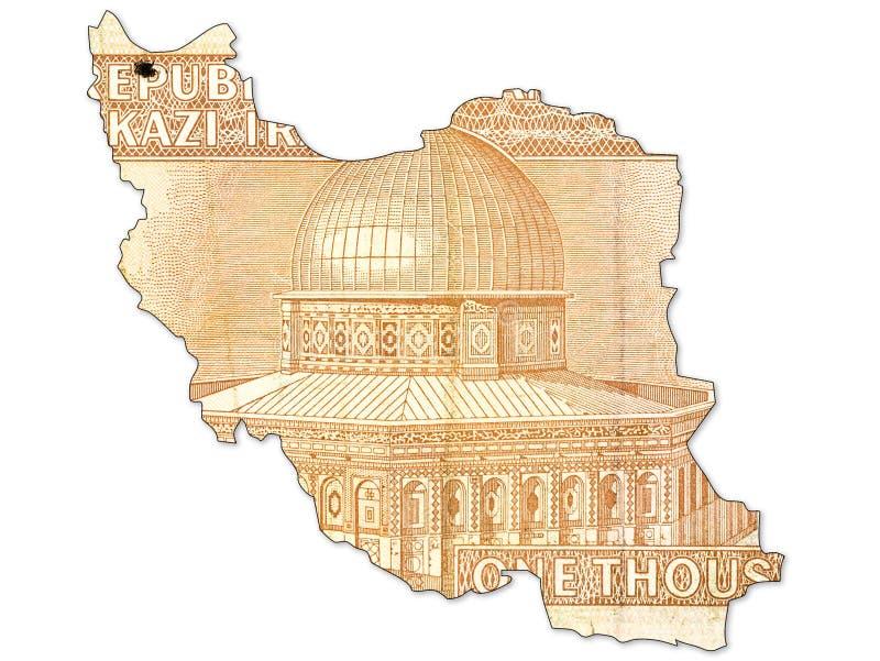 inverse de note du rial 1000 iranien dans la forme de l'Iran images libres de droits