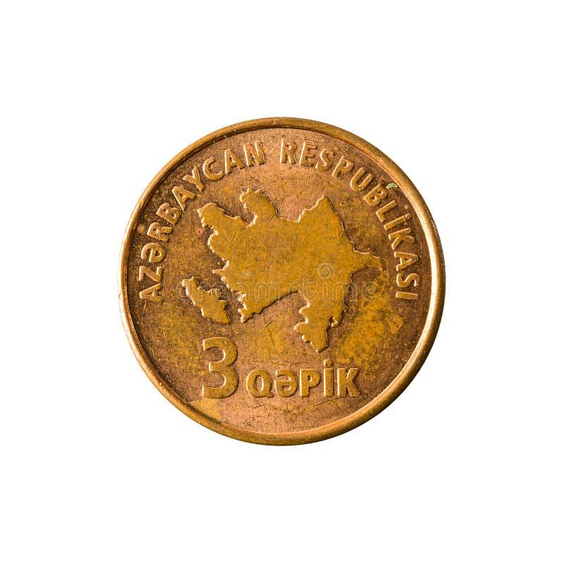 inverse de pièce de monnaie de qepik de 3 Azerbaïdjanais image libre de droits