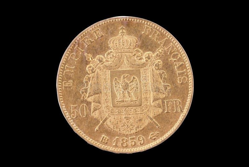 inverse français d'or de 50 francs antiques de pièce de monnaie photo libre de droits