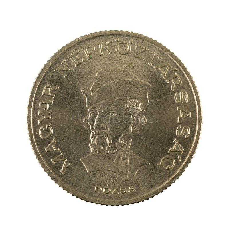 20 inverse hongrois de la pièce de monnaie 1989 de forint d'isolement sur le fond blanc photographie stock libre de droits