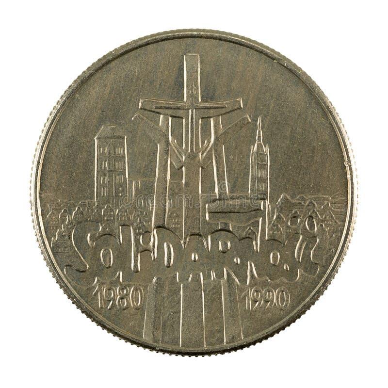 inverse 1990 polonais de pièce de monnaie du zloty 10000 d'isolement sur le fond blanc photos stock