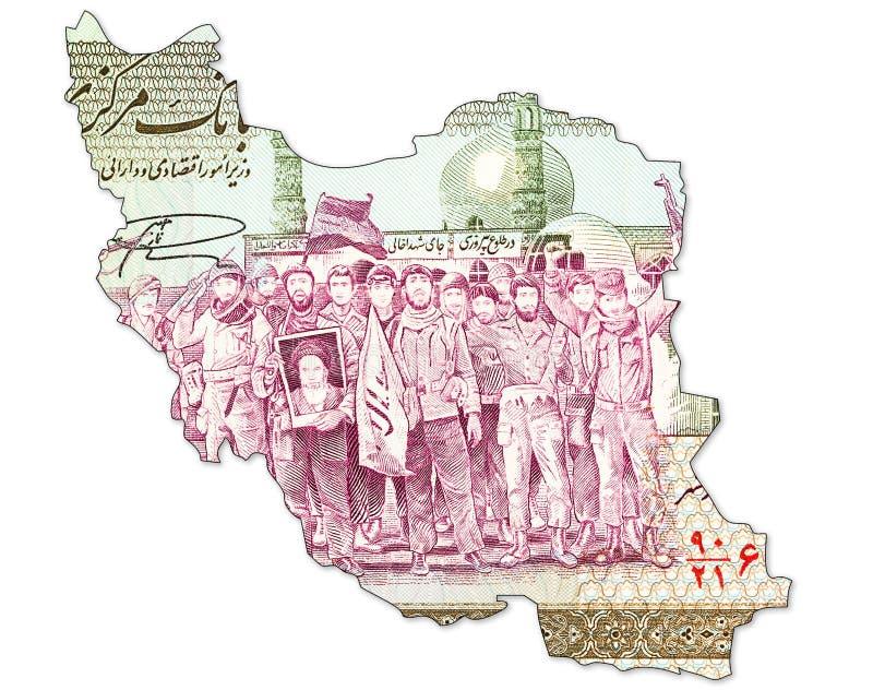 2000 inverses de note de rial iranien dans la forme de l'Iran photo libre de droits