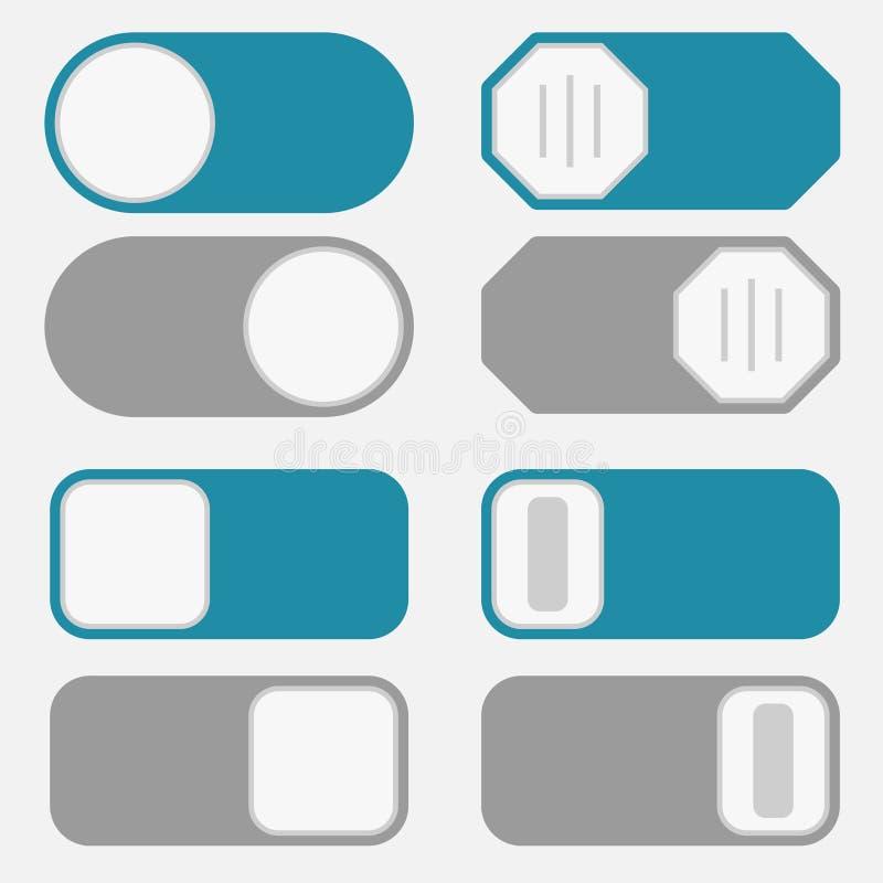 Inverseur, sur outre du bouton illustration stock