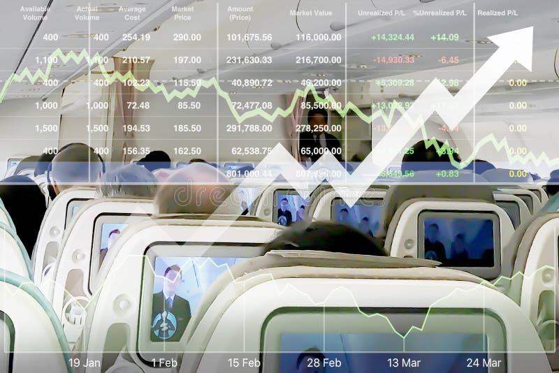Inversión acertada de la demostración del índice de existencias en negocio de línea aérea fotos de archivo