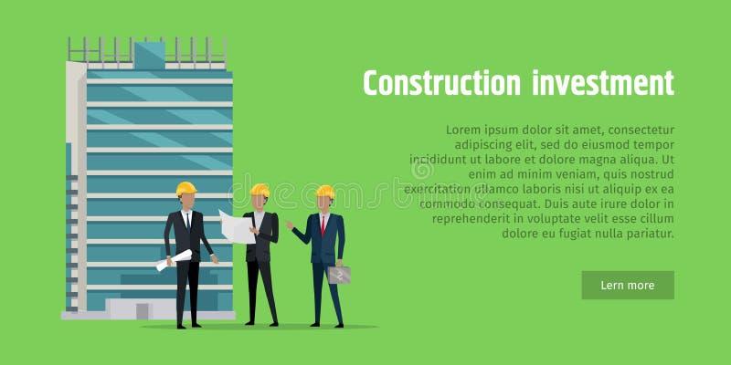 Inversión de la construcción Hombres que discuten proyecto ilustración del vector