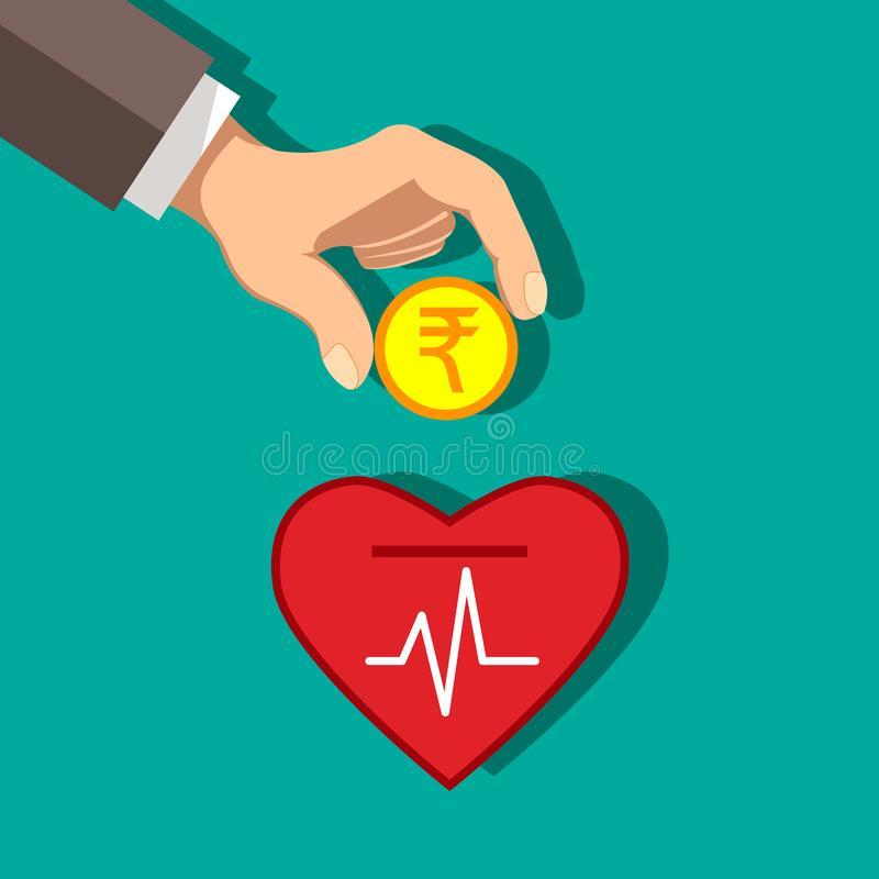 Inversión de la rupia india en concepto de la salud Vector libre illustration