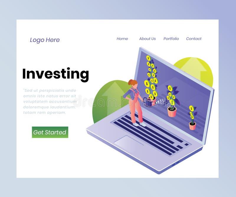Inversión de los fondos para el crecimiento del concepto isométrico de las ilustraciones del dinero stock de ilustración