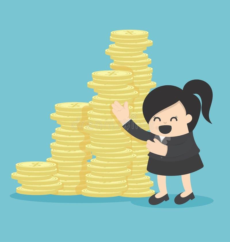 Inversión del dinero de la oferta de la mujer de negocios stock de ilustración