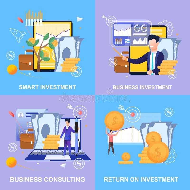 Inversión elegante de la bandera plana Inversión empresarial libre illustration