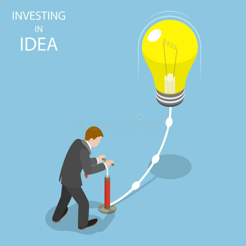 Inversión en concepto isométrico plano del vector de la idea libre illustration