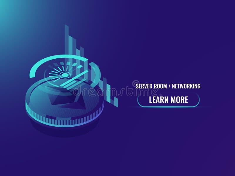 Inversión en cryptocurrency, análisis y estadísticas, horario del ethereum y vector isométrico de la carta stock de ilustración