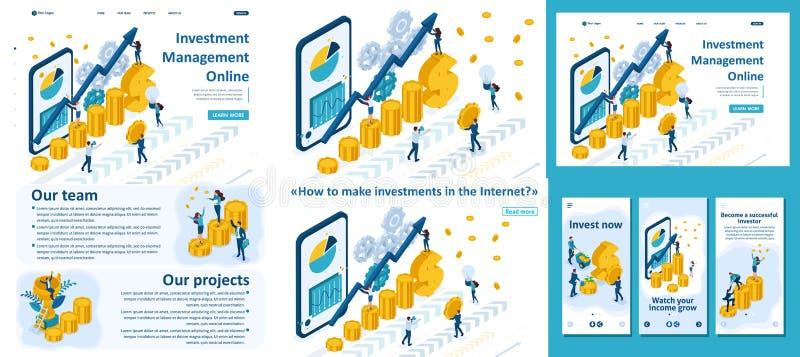 Inversión en línea de manejo isométrica stock de ilustración