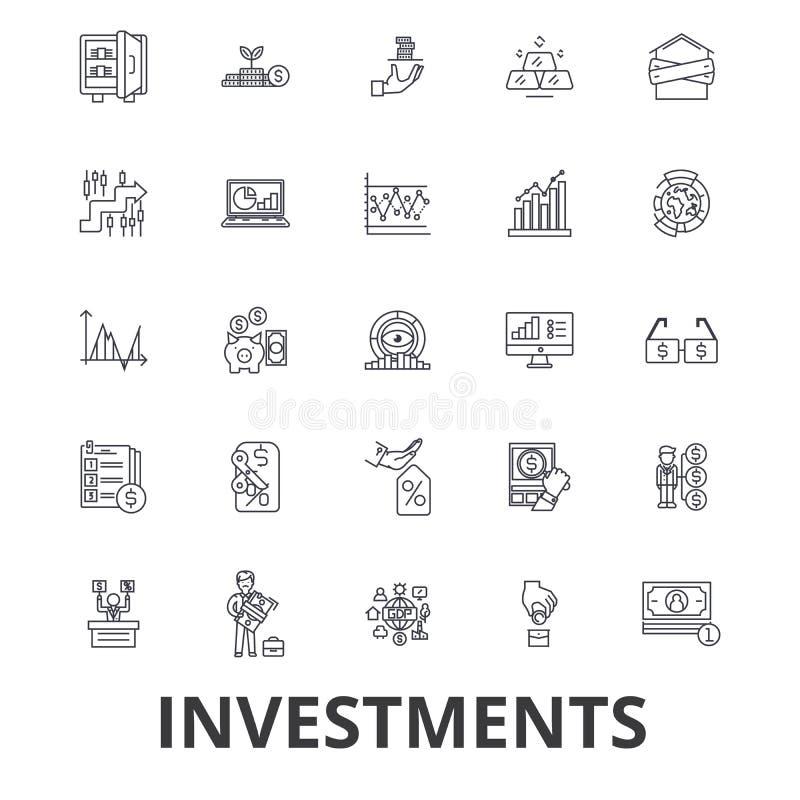 Inversión, finanzas, dinero, inversor, mercado de acción, ahorros, negocio, línea de banco iconos Movimientos Editable Diseño pla stock de ilustración