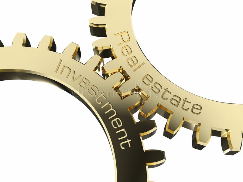 Inversión inmobiliaria en ruedas dentadas stock de ilustración