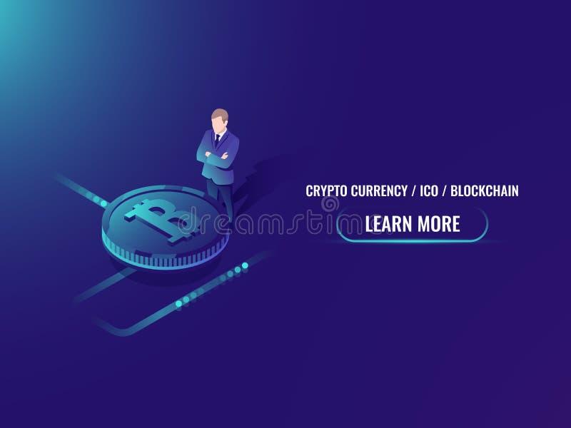Inversión y explotación minera isométricas, vector del bitcoin de la página web de la compra del cryptocurrency stock de ilustración