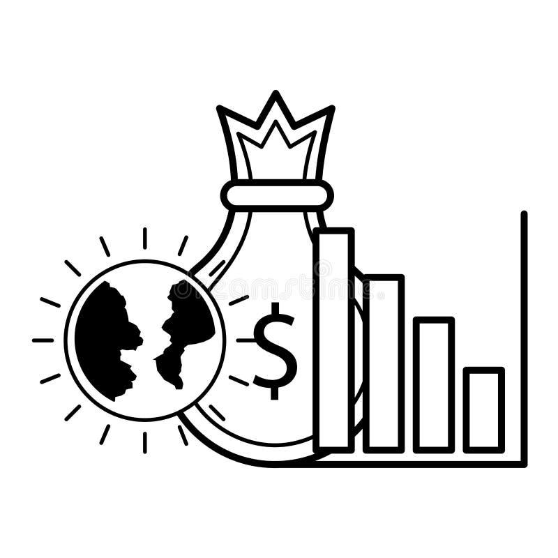 Inversi?n empresarial del bolso del dinero stock de ilustración