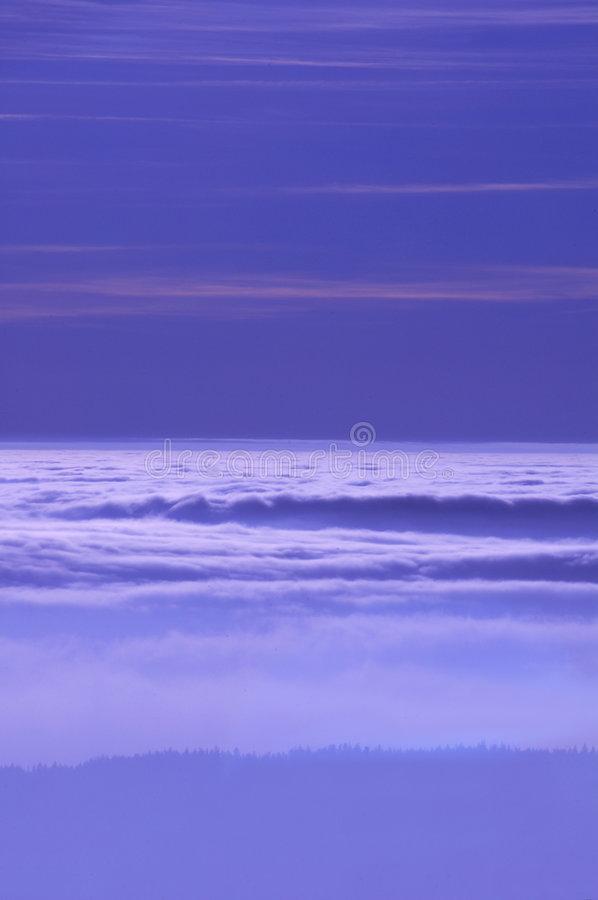 Inversion. Violet winter inversion stock images