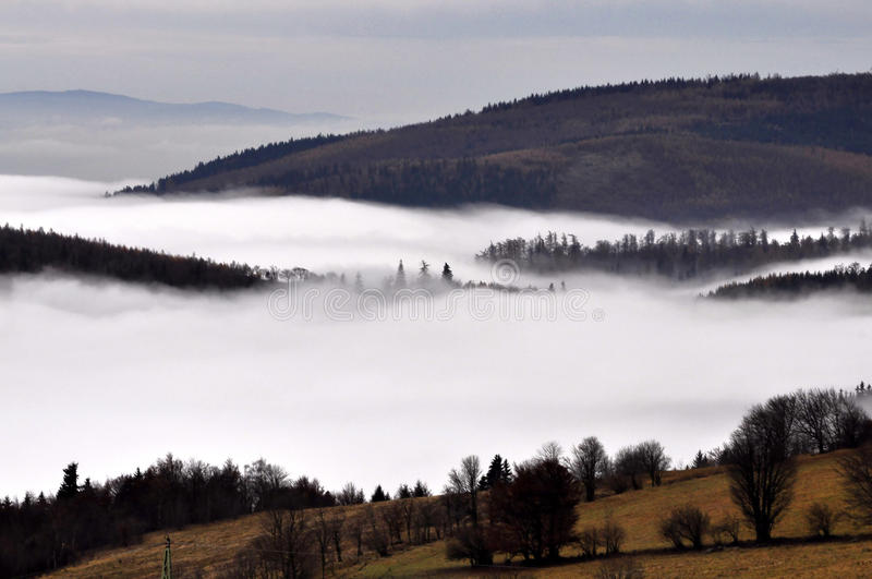Inversion in autumn. Beautiful autumn inversion in Ore Mountains (Krusne Hory) in the Czech Republic royalty free stock photo