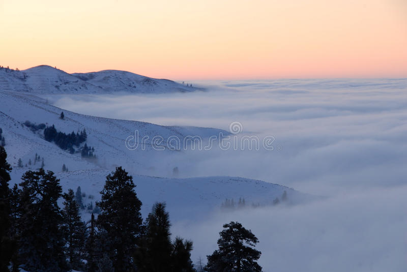 Inversion over Boise. Inversion clouds above Boise, Idaho stock image