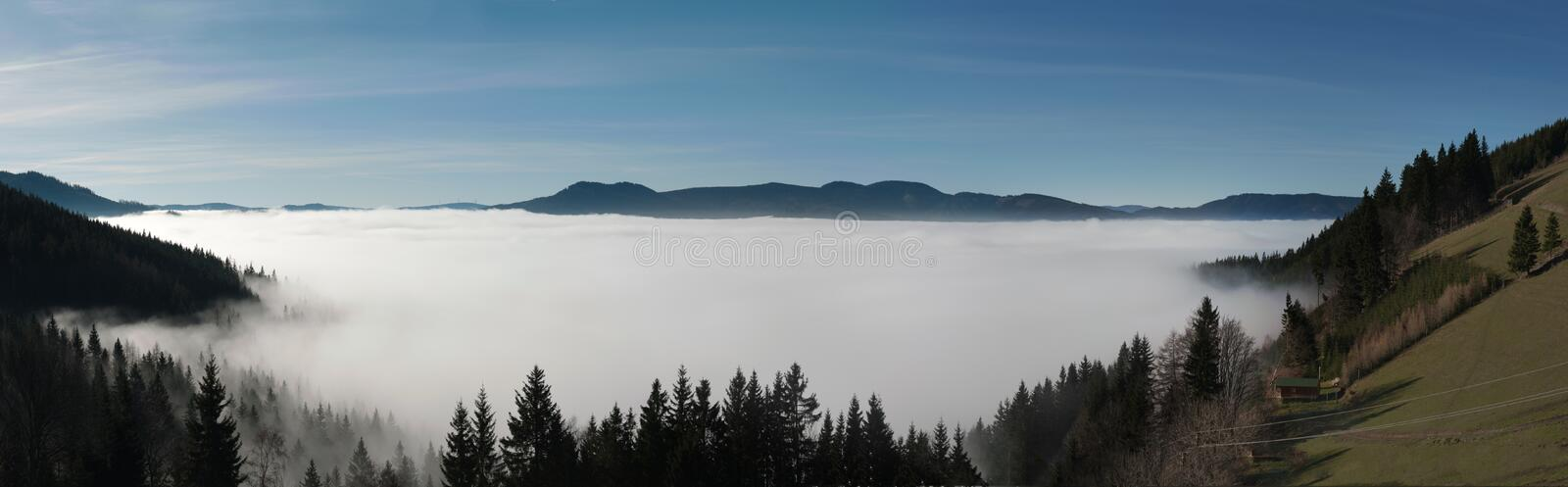 Inversion. Panoramic photo of an inversion weather phenomenon royalty free stock image
