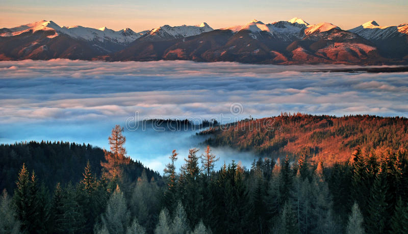 Inversion in Slovakia. Inversion in the High Tatras at sunset royalty free stock image