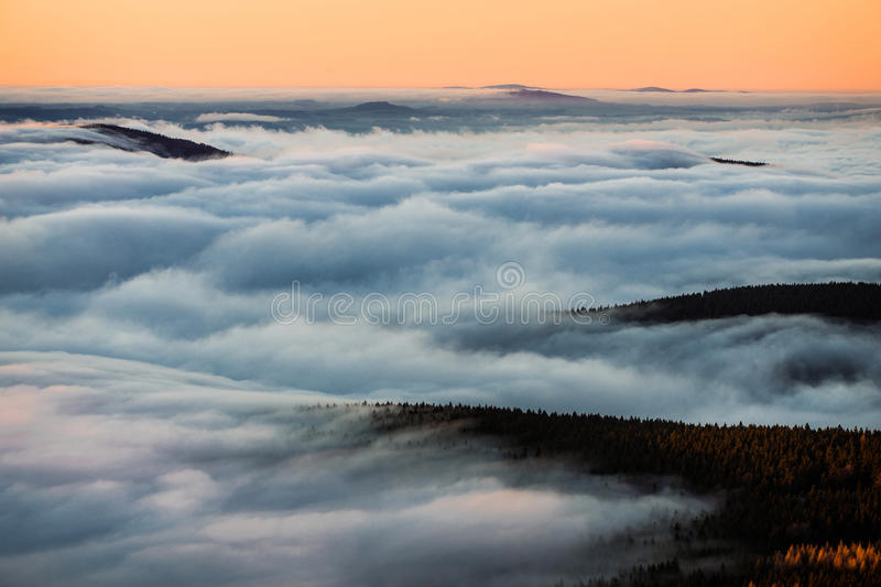 Inversion in the valley at sunset.  stock image
