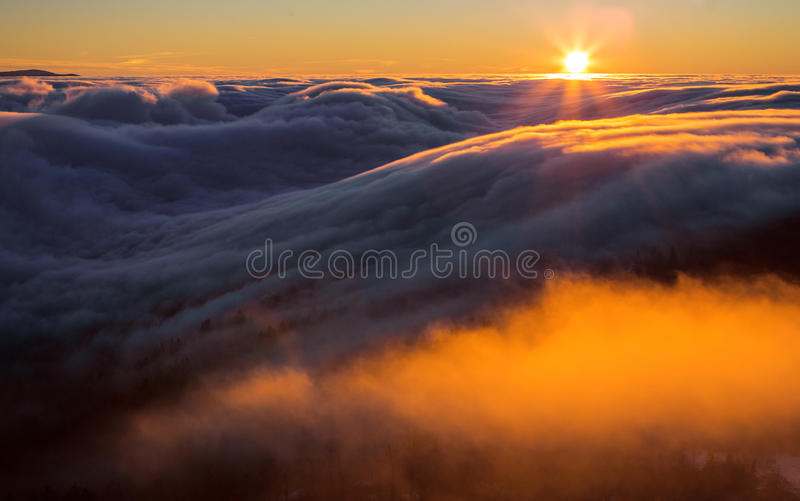 Inversion in the valley at sunset.  stock photo